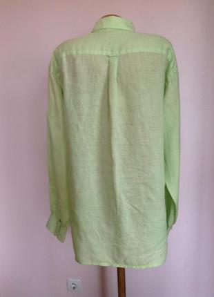 Салатовая мужская леновая рубашка в подарок. /l/brend arrow3 фото