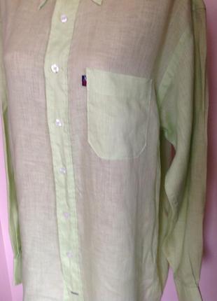 Салатовая мужская леновая рубашка в подарок. /l/brend arrow4 фото