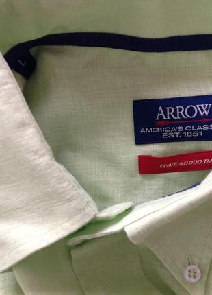 Салатовая мужская леновая рубашка в подарок. /l/brend arrow5 фото