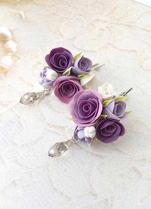 Серьги подвески с цветами.много украшений у меня на странице!