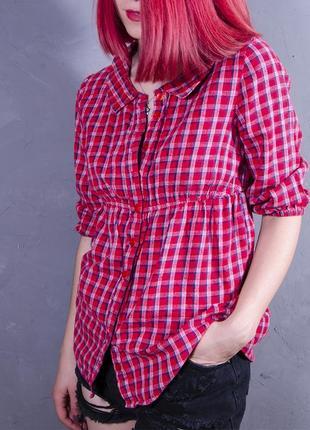 Женская рубашка в клетку, красная блуза с рукавом 3/4, приталенная рубашка