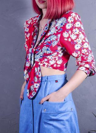 Шифоновая блуза с принтом, красная рубашка с цветочным принтом, летняя блуза