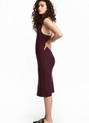 Платье из рельефного трикотажа h&m 0526029004 фиолетового цвета
