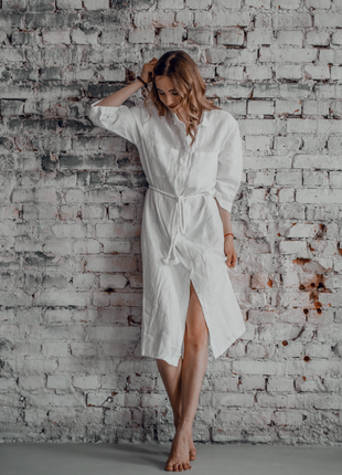 Льняная платье - рубашка. платье-рубашка из льна. белое платье-рубашка