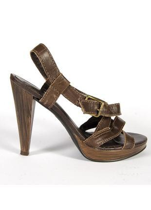 Кожаные босоножки коричневые, коричневые босоножки на каблуке