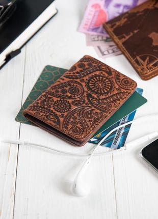 "Органайзер для документов ( id паспорт ) / карт hi art ad-03 shabby сognac ""buta art"""