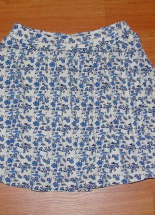 Белая юбка в цветочек,цветы,5-6 лет, 116