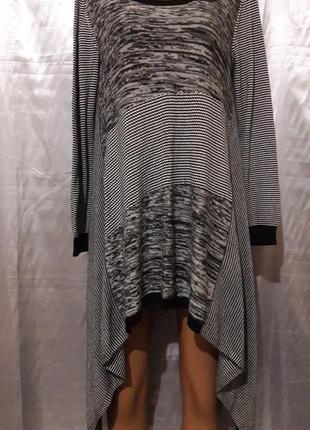Стильное платье-туника в полоску