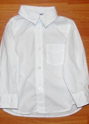 Белая рубашка с длинным рукавом,2-3 года,98