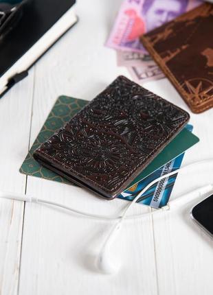 "Органайзер для документов (id паспорт)/карт hi art ad-03 crystal brown silk ""mehendi art"