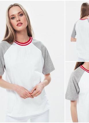 Стильная белая футболка с окантовкой
