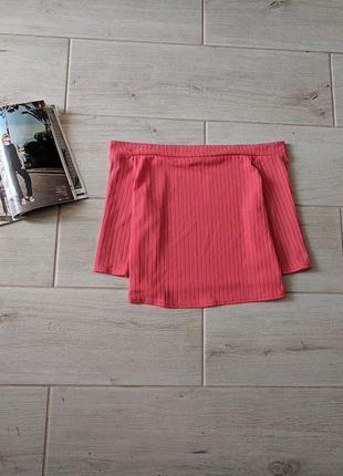Яркая стильная блуза кроп топ с открытыми плечами xs s