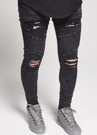 Siksilk jeans мужские джинсы скини с дырками