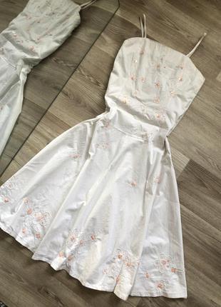 Белое платье миди с пайетками , хлопок