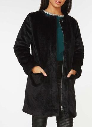 Плюшевое, черное пальто
