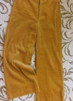 Zara вельветовые брюки зара кюлоты укороченые мом высокая посадка