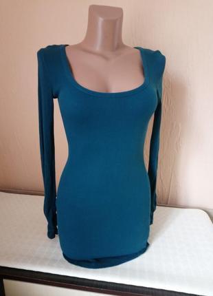 Стильна сукня -туніка в мілкий рубчик .