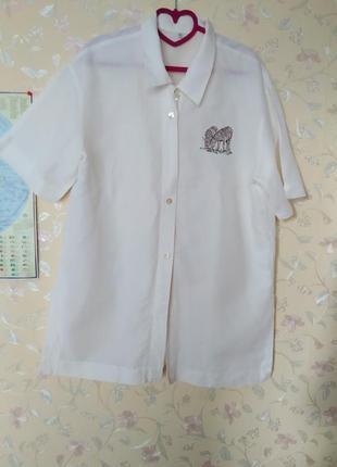 Удлиненная рубаха из льна, белая рубашка
