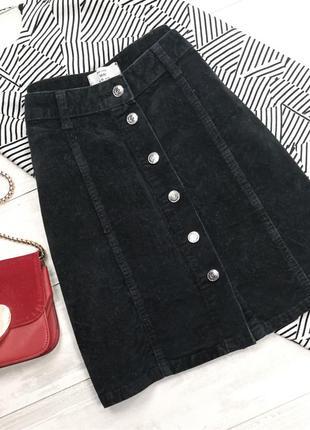 Вельветовая юбка а-силуэта на пуговицах в191303 new look размер uk10/38 (m)