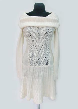 Теплое вязаное платье-свитер victoria's secret  с объемным воротом - трансформером