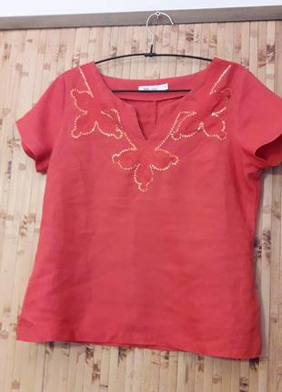 Блузка льняная кораллового цвета вышивка пайетки