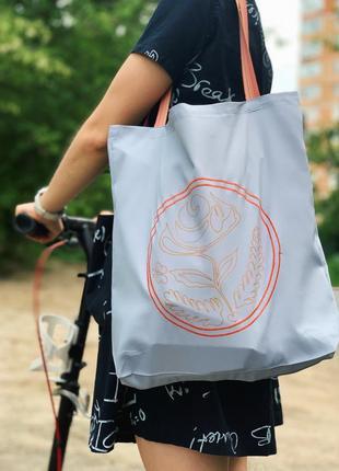 Эко сумка шоппер торба @don.bacon серая с вышивкой чашки кофе и рисунком латте-арта