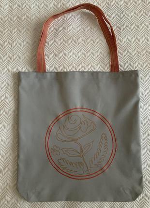 Эко сумка шоппер торба @don.bacon серая с вышивкой чашки кофе и рисунком латте-арта2 фото