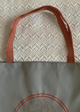 Эко сумка шоппер торба @don.bacon серая с вышивкой чашки кофе и рисунком латте-арта5 фото