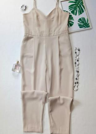 Шикарный бежевый комбинезон с брюками