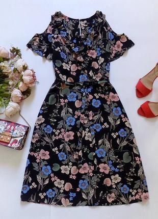 Платье миди в цветах f&f, размер 12 (см. замеры)