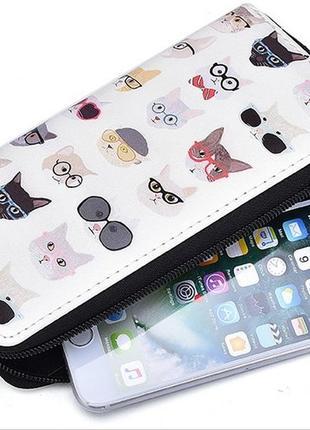 Badiya интересный длинный кошелек клатч бумажник на молнии с котиками, котами в очках