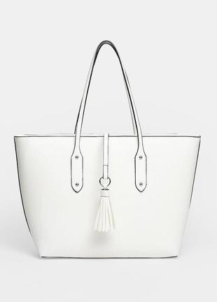 Фирменная белая сумка шоппер