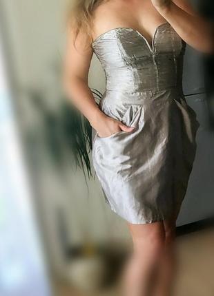 46-48р lipsy лондон нарядное бежевое платье бандо,бюстье