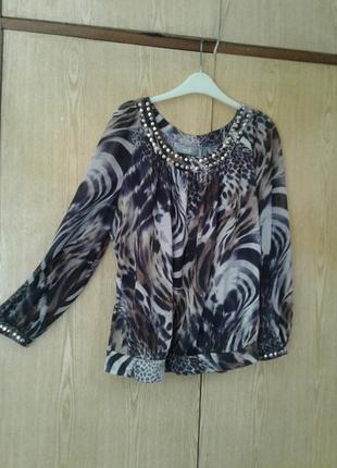 Леопардовая блузка с прозрачными рукавами, l.