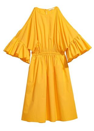 Яркое пышное летнее хлопковое платье миди h&m