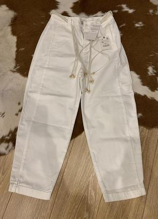 Zara штаны белые хлопок оригинал качественные на ремешке