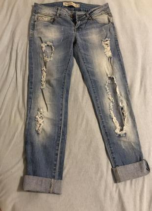 Крытые рванные штаны на лето zara
