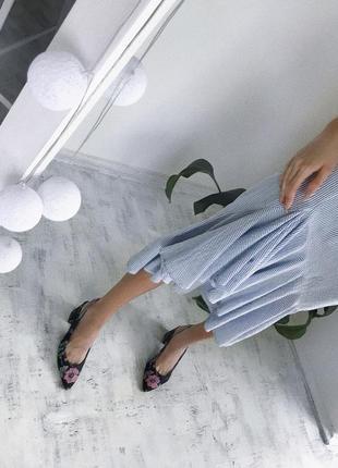 Тренд сезону! коттонова спідниця міді в рюши юбка миди m