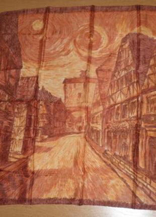 Красивый классический платок саржевый шелк картина ван гог 77х75см шов роуль