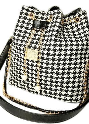 Сумка- ведро сумка- мешок в гусиную лапку