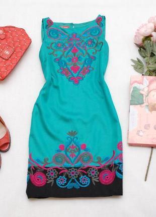 Шикарное натуральное (вискоза+хлопок) платье с вышивкой monsoon 8uk