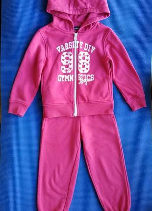 Спортивный костюм девочке на 3-4 года, 104 см, розовый
