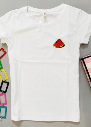 Базовая белая футболка женская хлопковая много рисунков