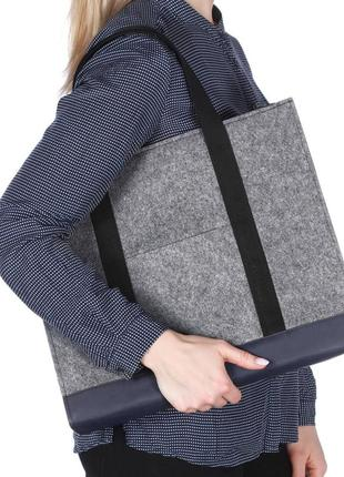 Gb03 войлочная сумка gmakin milana с елементами кожзама