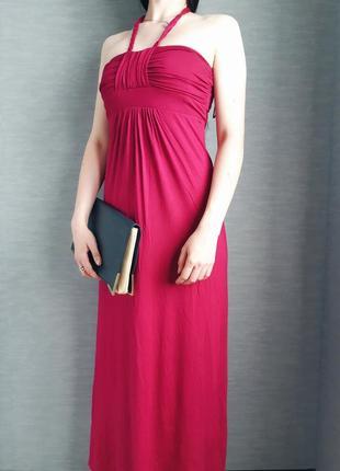 Розовое платье из натуральное ткани/сукня в пол от new look