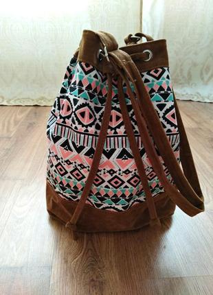 Стильная, яркая сумка-торба в этно/бохо стиль