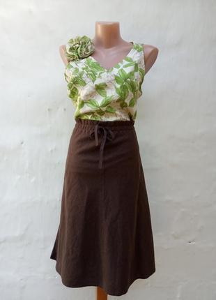 Стильная легкая льняная коричневая юбка миди а силуэт,кэжуал,деревенский стиль,колокол.