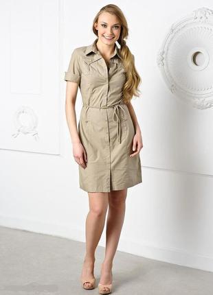 Стильное нюдовое платье сафари платье-рубашка