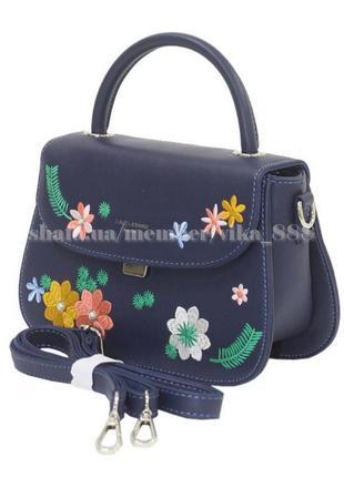 Клатч с вышивкой, сумка через плечо david jones 5971  темно-синий
