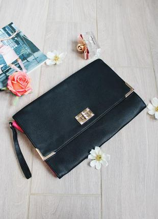Шикарный элегантный черный кожаный клатч/сумка/кошелек от atmosphere
